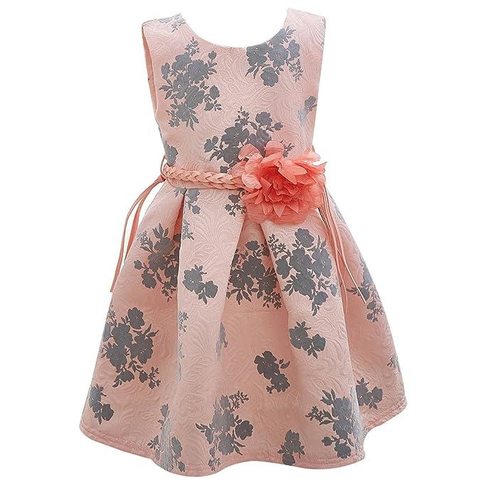 YuanDian Bambina Estate Stampa Fiore Senza Maniche Partito Principessa  Vestiti Eleganti Bimba A Line Abiti 2