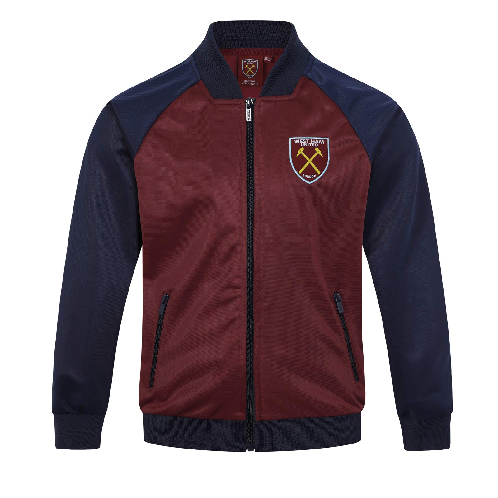 West Ham United Fc Official Gift Boys Retro Track Top Jacket Claret 10-11 Years