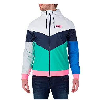 c3d62d69402f Nike Men s Sportswear Windrunner Jacket White Multicolor AJ1396-100 (Size   ...