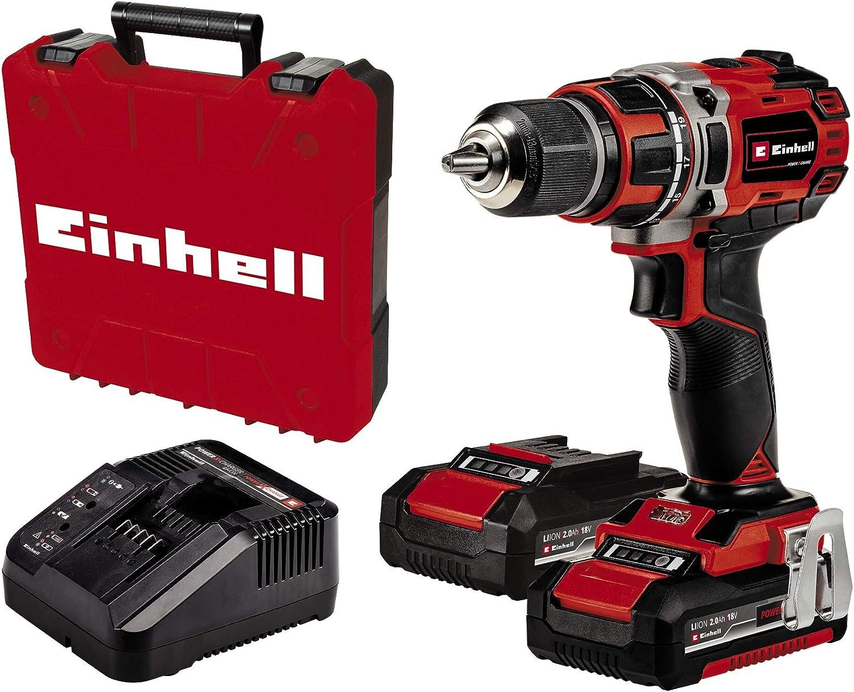 Einhell Taladro/destornillador con Batería TE-CD 18/50 Li BL Kit Power X-Change (Iones de Litio, 18 V, máx. 50 Nm, portabrocas de 13 mm, Motor sin escobillas, incl. 2 Baterías de 2.0 Ah