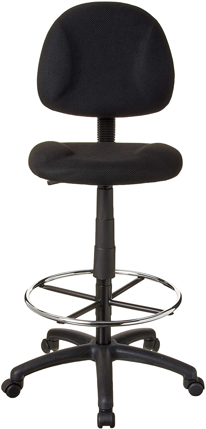 Boss Office Products Ergonomic Works Drafting Chair without Arms in Black: Furniture & Decor