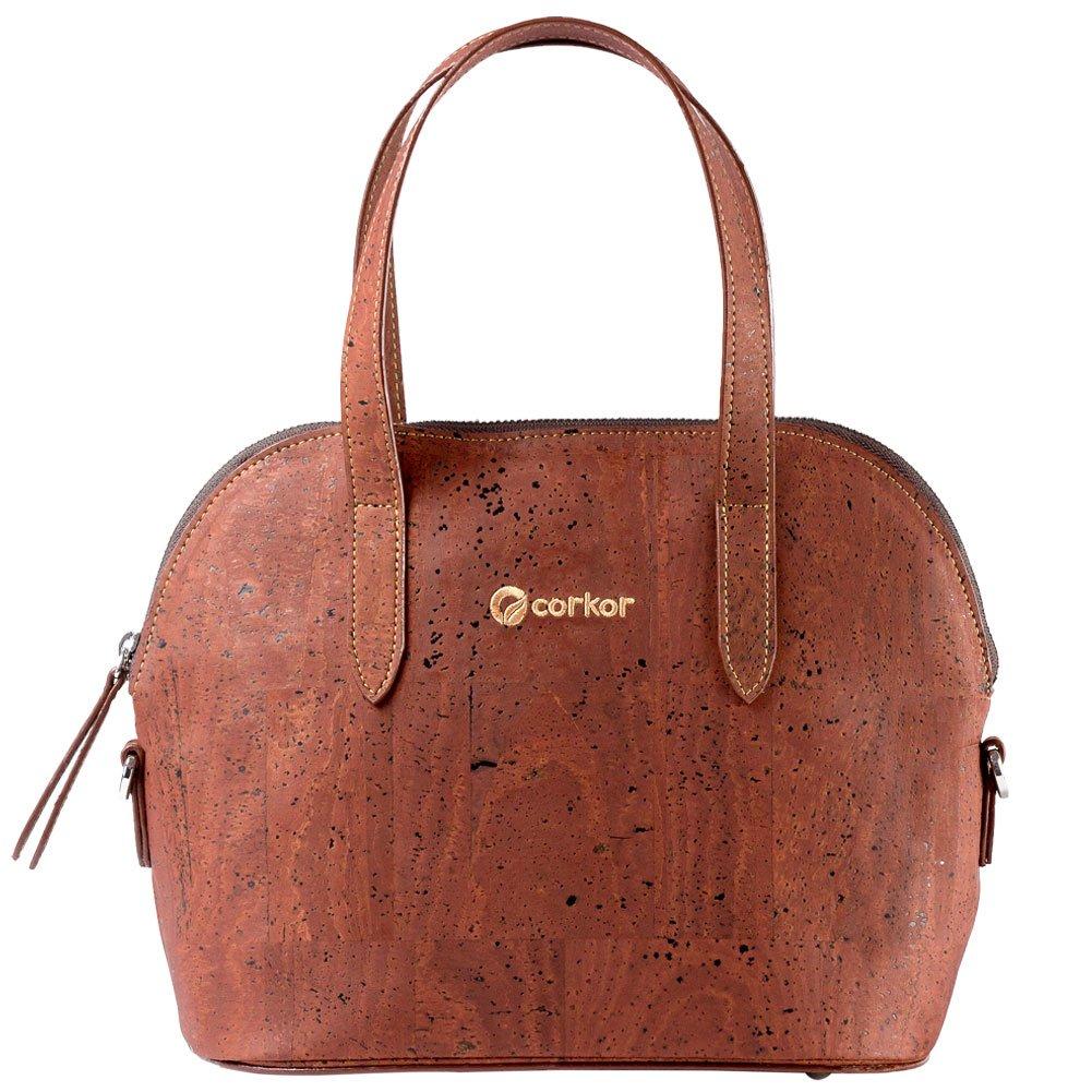 Corkor Top Handle Handbag Tote Small 9 to 5 Crossbody Cork Bag Satchel Natural Red Color