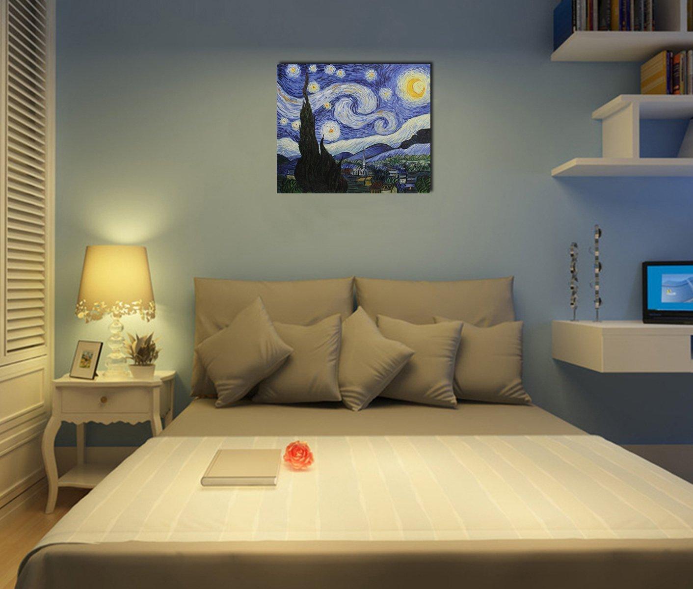 50x60cm Tela riproduzione del classico cielo stellato di Vincent Van Gogh Pittura a olio su tela pronta da appendere al muro Fokenzary gi/à incorniciata