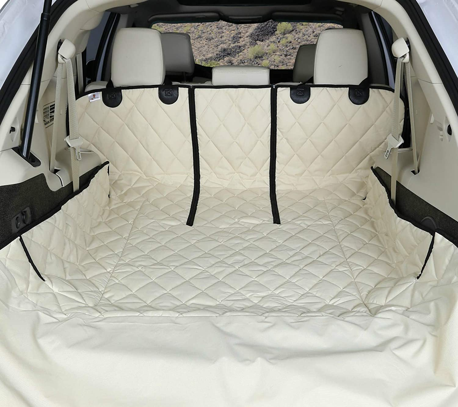 Large, Tan USA Based Company 4Knines SUV Cargo Liner for Fold Down Seats 60//40 Split and Armrest Pass-Through Compatible