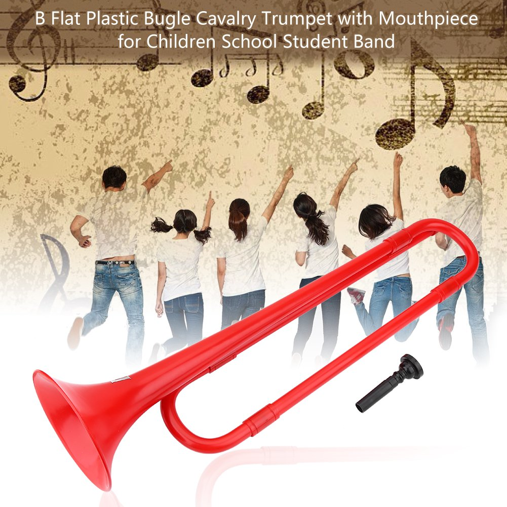 Plastic Trumpet Toy B Flat Trumpet Bugle Cavalry Trumpet Environmentally Friendly Plastic with Mouthpiece for Kids Band School Student(Black) Vbestlife Vbestlifeoze9r6nfpc-02