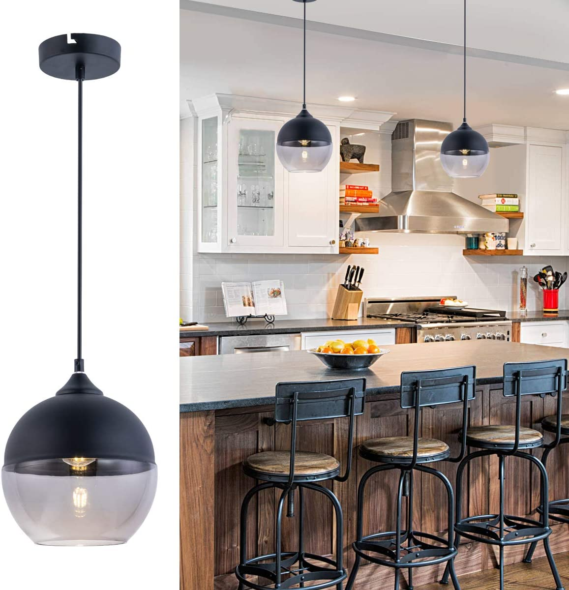 Bewamf Modern Mini Pendant Lighting with Matte Black and Grey Glass Shade Adjustable Edison Loft Farmhouse Hanging Light Fixture for Kitchen Island Restaurants Hotels Dining Room