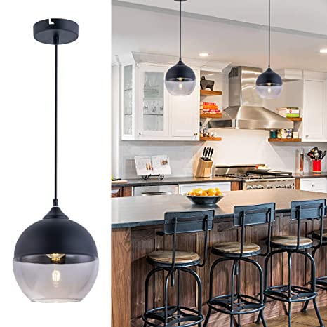 Bewamf Modern Mini Pendant Lighting with Matte Black and Grey Glass Shade  Adjustable Edison Loft Farmhouse Hanging Light Fixture for Kitchen Island  ...
