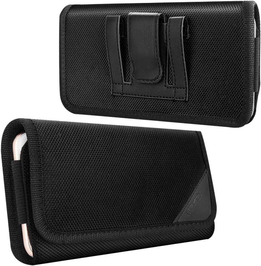 MoKo Funda de Teléfono de con Clip de Cinturón, Bolsa de Nylon Compatible con iPhone SE 2020, Galaxy Note 10/S10e/S10/S10 Plus, iPhone 11 Pro/iPhone 11/iPhone 11 Pro MAX/XS/XS MAX/XR - Negro