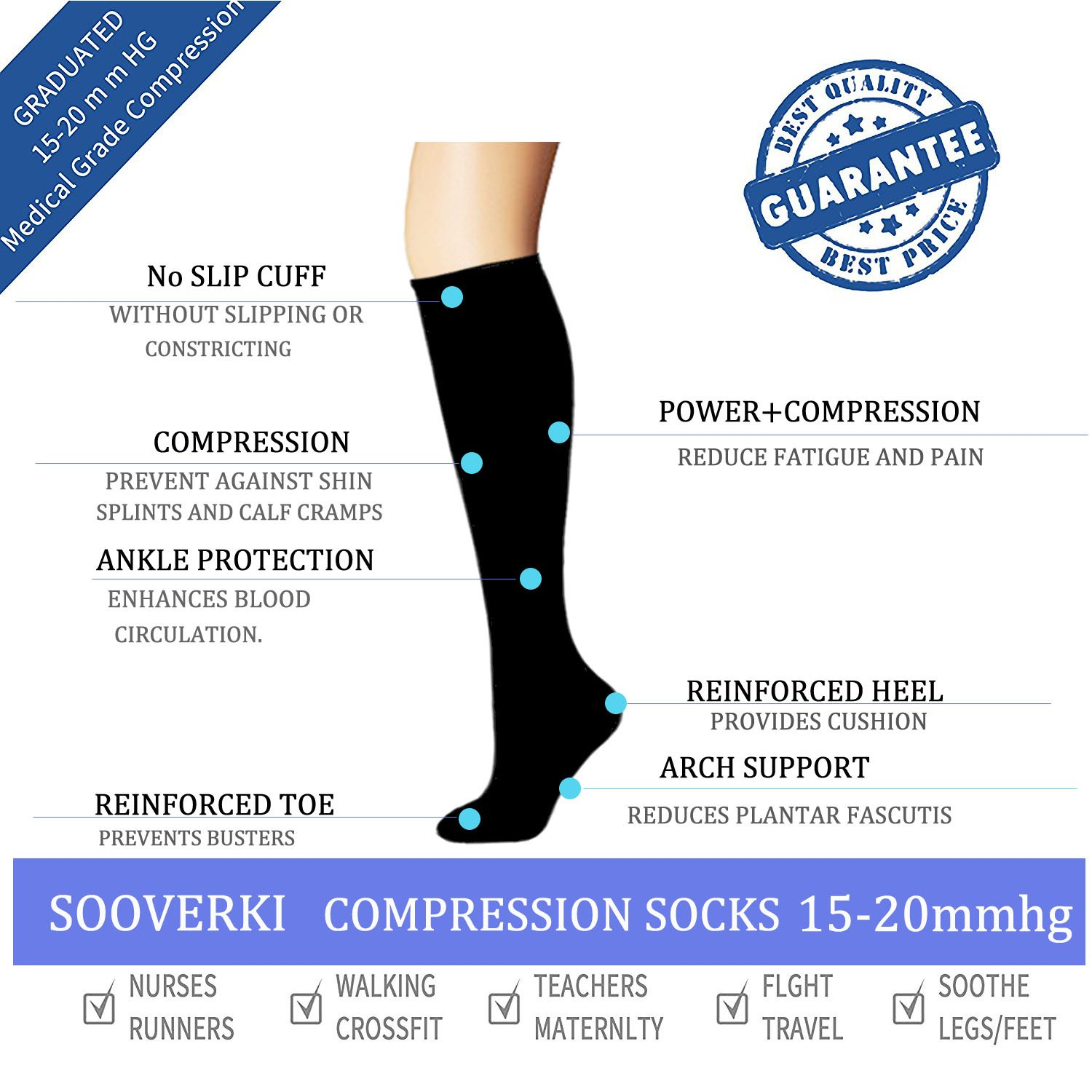 Amazon.com: Compression Socks For Women and Men(6 Pairs)- Best Medical, Nursing- 15-20mmHg: Clothing