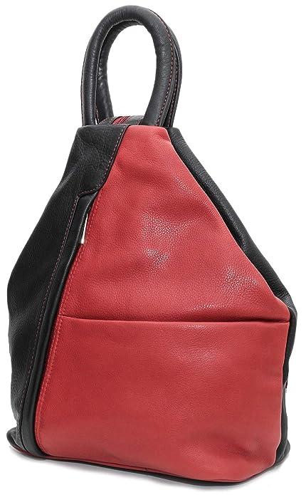 rojonegro Lisa mochila para mujer de DEVRAKH Negro Piel Bolso qS58FI