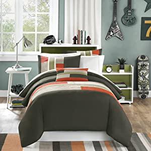 Mi-Zone Pipeline Printed 3 Piece Comforter Set Size Twin Extra Long, Twin/Twin X-Large, Olive