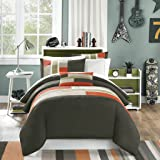 Mi-Zone Pipeline King/Cal King Duvet Cover Set Kids Boy - Olive Green, Striped Pieced – 4 Piece Bed Set Cover – Ultra Soft Microfiber Kid Boys Bedding Set