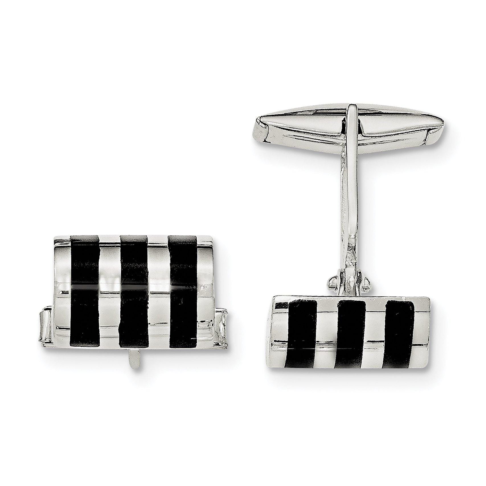 ICE CARATS 925 Sterling Silver Black Onyx Cuff Links Mens Cufflinks Man Link Fine Jewelry Dad Mens Gift Set