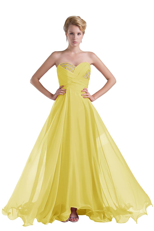 Dresstells Glamourös Damen Kleid Bodenlang Chiffon Herzförmig Abendkleid Ballkleider