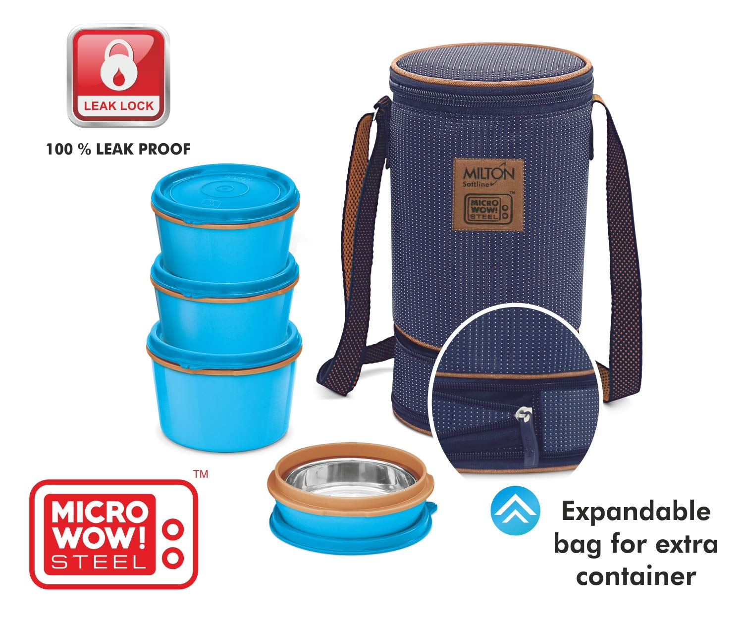 MILTON Bento Lunch Box Set -4 MICROWAVEABLE Stainless Steel Meal Prep Containers, Expandable Thermal Insulated Lunch Bag, SS Spoon Double Wall Food Storage Boxes w/Leak Proof Lids For Men,Women,Kids by Milton (Image #3)