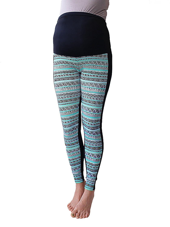 L, Chevron Stripes No See Through Maternity Leggings Chevron Print Multicoloured Print Leggings Maternity Zigzag Leggings Over Bump Pregnancy Yoga Wear