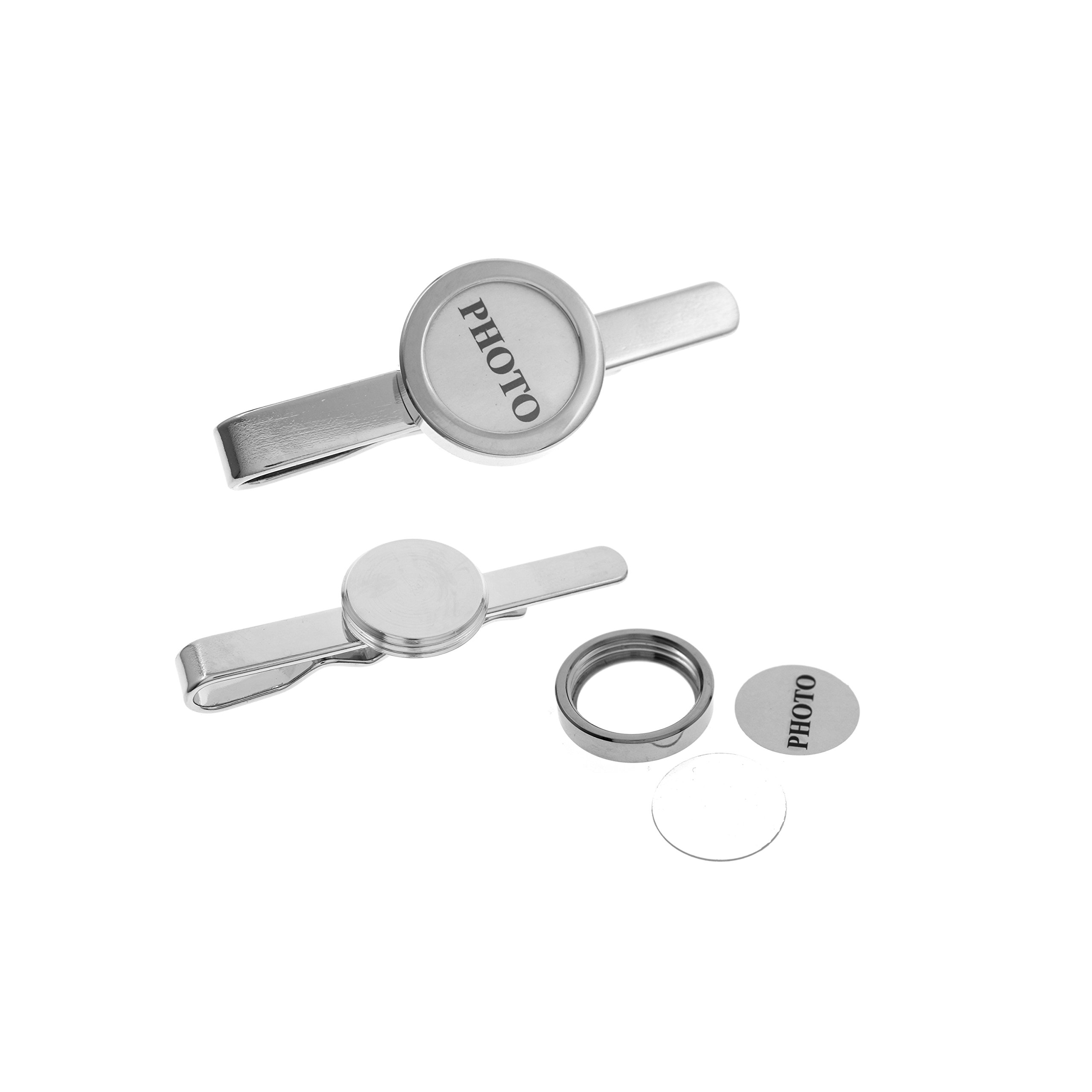 18.5MM Round Photo Frame DIY Screwed Top Tie Bar for Formal Dress Tie Clip (Silver)