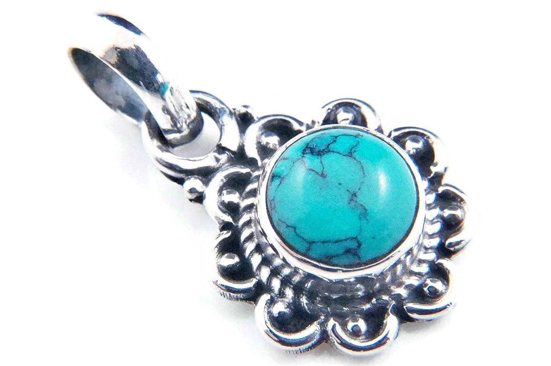 Kettenanhänger Medaillon Silber 925 Sterlingsilber Türkis blau grün Stein 13 mm x 23 mm (MAH 66) mantraroma