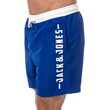 c531923bef Jack & Jones Mens Malibu Sack Swim Shorts in Blue- Ribbed Waistband ...