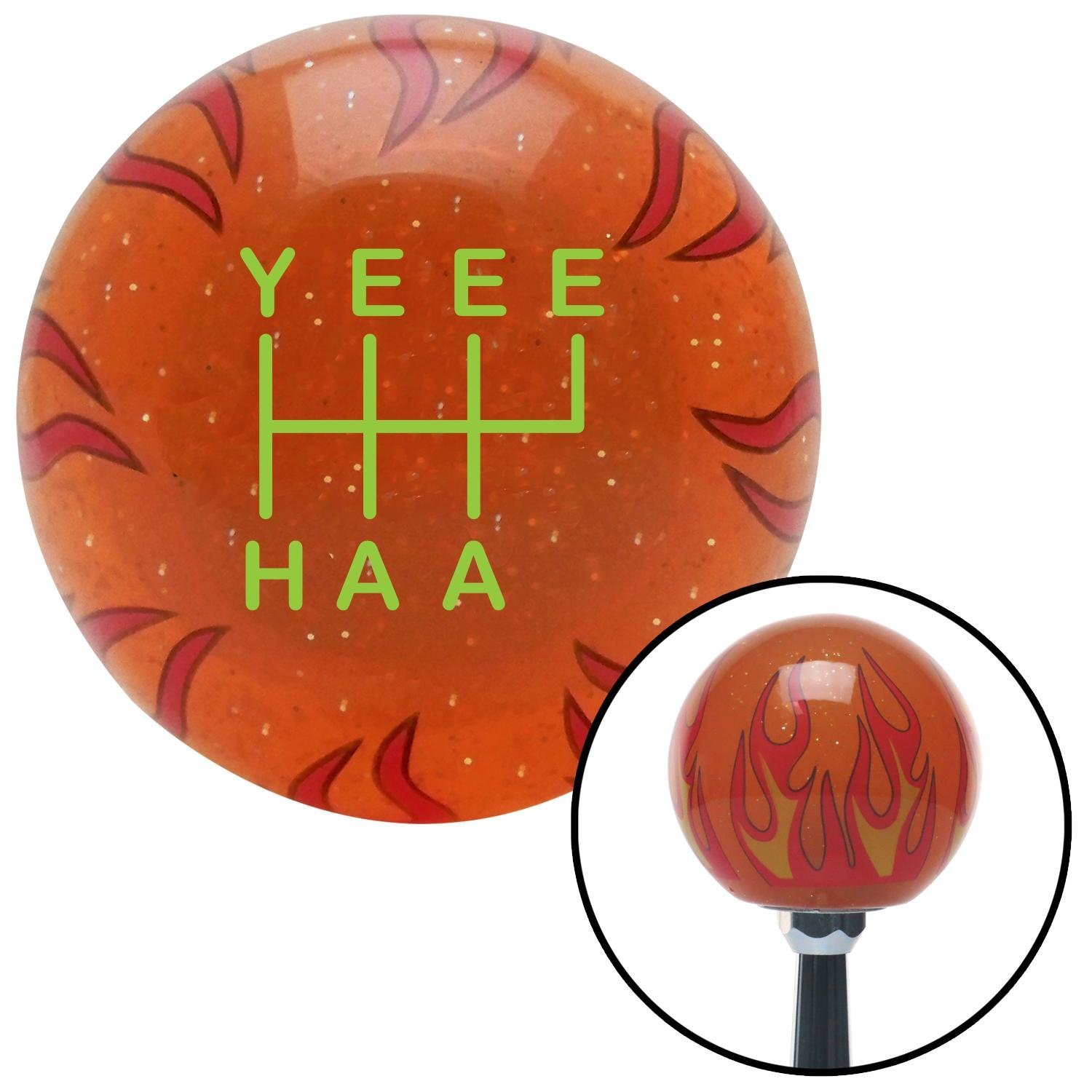 Green YeeeHaa 6 Speed RUR Orange Flame Metal Flake with M16 x 1.5 Insert American Shifter 302339 Shift Knob