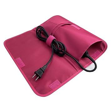 Bolsa de cosméticos con funda de hierro plana Hairizone con bolsa de viaje y soporte de cable de alimentación para plancha de pelo, estuche de hierro ...