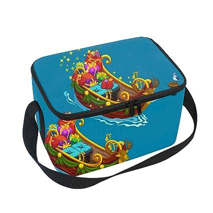 46fb055df8ef Amazon.com: Reusable Lunch Bag Festively Decorated Boat Handbag ...