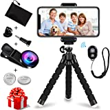 iPhone Tripod, WEIO【2018 Upgraded】Phone Tripod Portable Adjustable Tripod for iPhone Flexible Tripod Bluetooth Remote Shutter with Wide Angle Lens iPhone Lens batteries for iPhone, Android, Gopro
