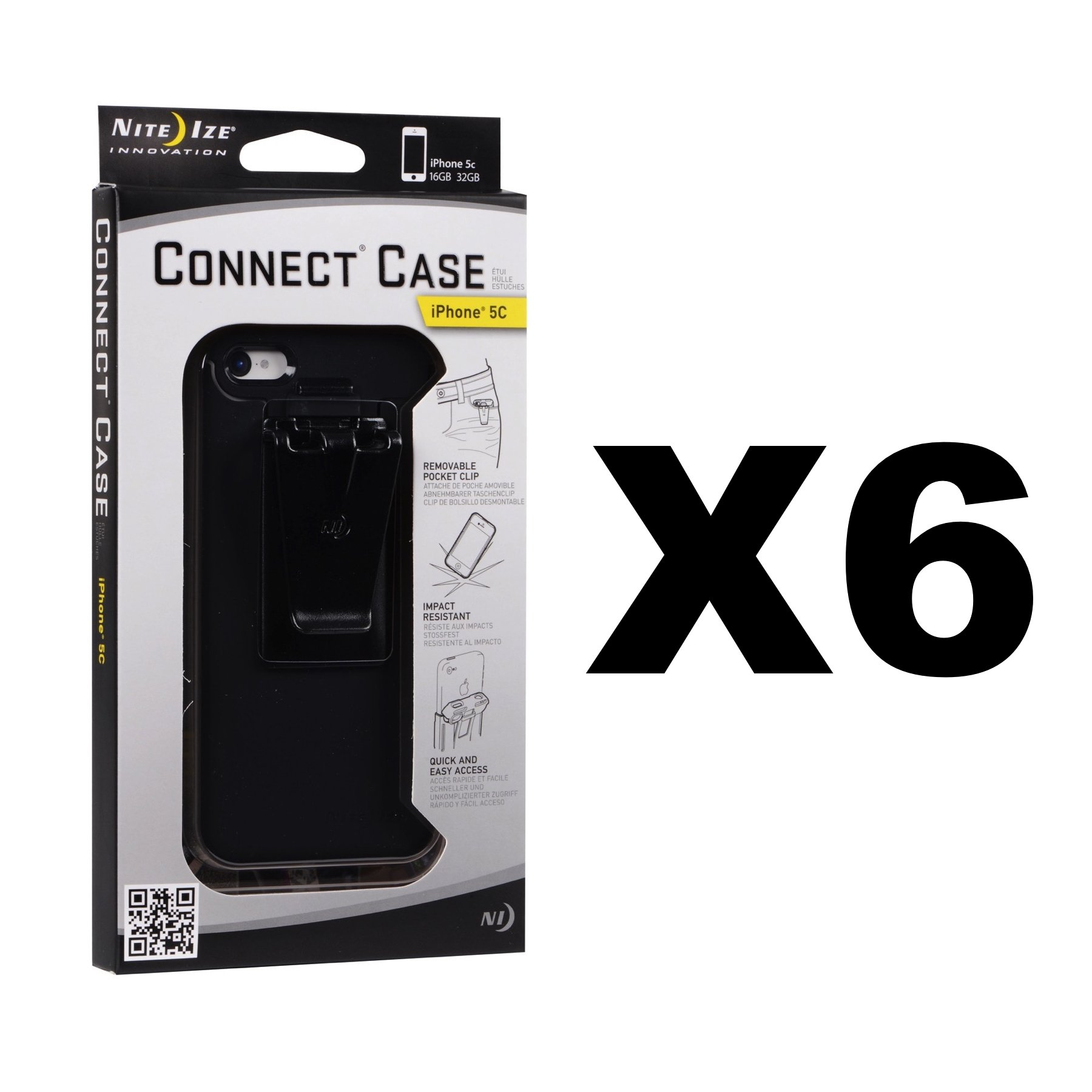 Nite Ize Connect Case for iPhone 5C Black with Belt Clip Shatterproof (6-Pack) by Nite Ize