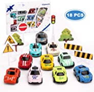 Kilpkonn Race Car Toys Set, 10 Die-Cast Metal Cars, 8 Road Sign, Mini Pull Back Toy Cars with Giftbox, Perfect Racing Car Pa