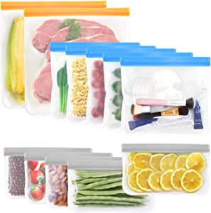 12 Pack Silicone Food Storage Bags, 2 Reusable Gallon Bags, 5 Reusable Sandwich Bags, 5 Reusable Snack Bags, BPA FREE Ziplock Freezer Bags, Extra Thick Leakproof for Kitchen Organization and Storage