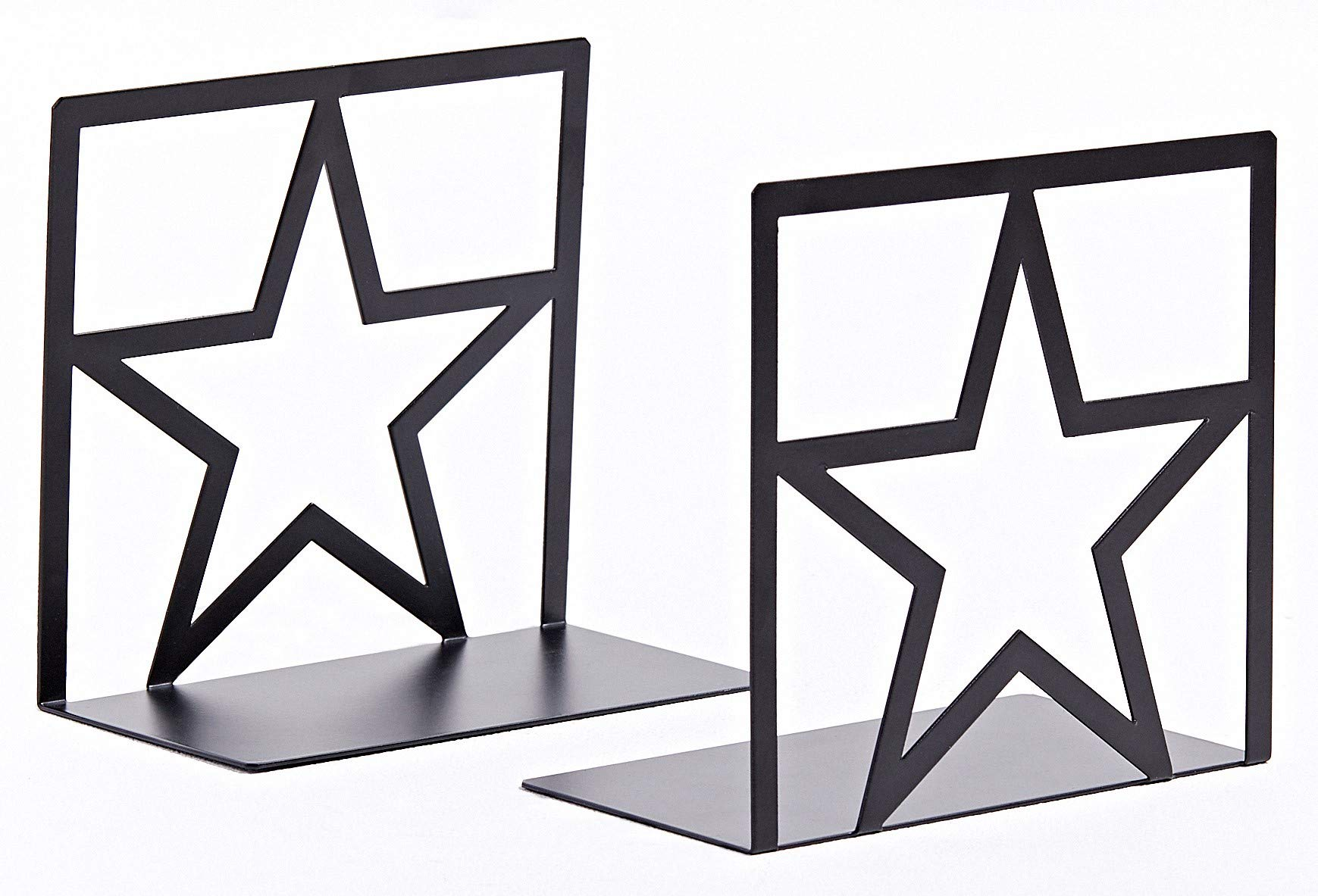 Geomod Decorative Star Metal Bookends (Black, 1 Pair) Book Ends for Tables, Desks, Shelves | Fits Tall, Hardback Books by Geomod