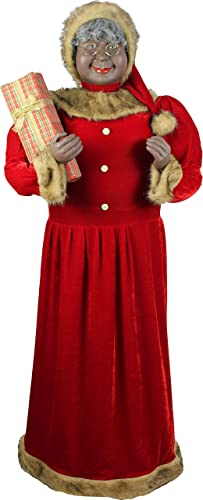 Fraser Hill Farm Red Life-Size Indoor Christmas Decoration, 5-Ft. African-American Mrs. Claus Holding Gift Wearing Velvet Dress w Fur Trim