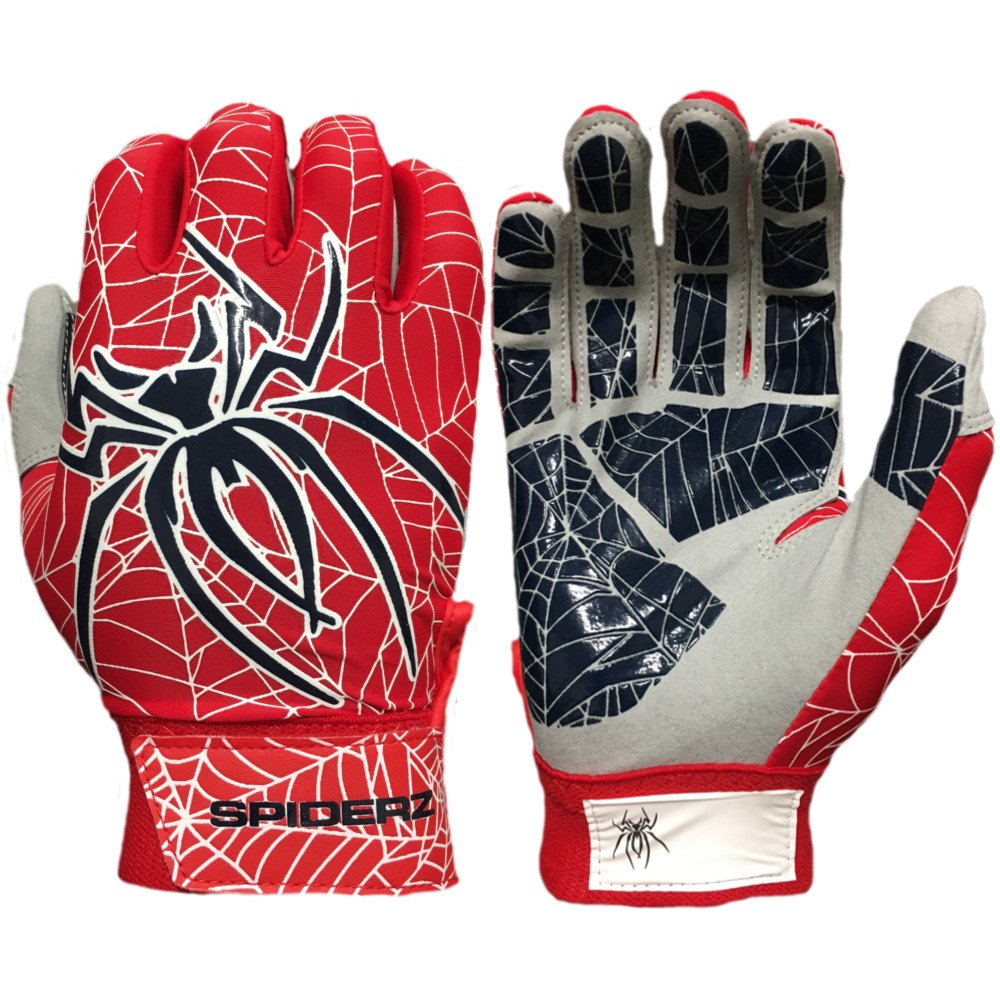 Spiderz Lite Batting Gloves with Enhanced Silicon Spider Webグリップ B077J38XYX Adult X-Large|Red/White/Navy Blue Red/White/Navy Blue Adult X-Large