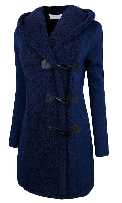 Vska Women's Basic Warm Jacket Solid Color Hoodie Long Coat Top