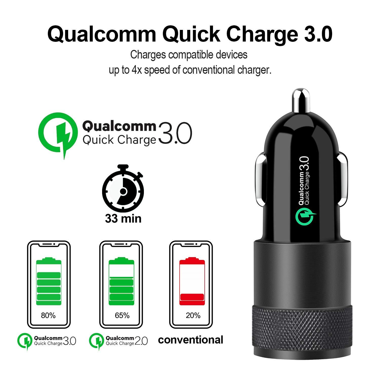 Quick Charge 3.0+2.4A 30W KFZ Ladeger/ät Auto Ladeadapter Dual USB Adapter mit 1M Nylon USB Type C Ladekabel f/ür Samsung Galaxy S10 S9 S8,Note9//8,LG G6 V30 Schwarz Magichome Auto Ladeger/ät