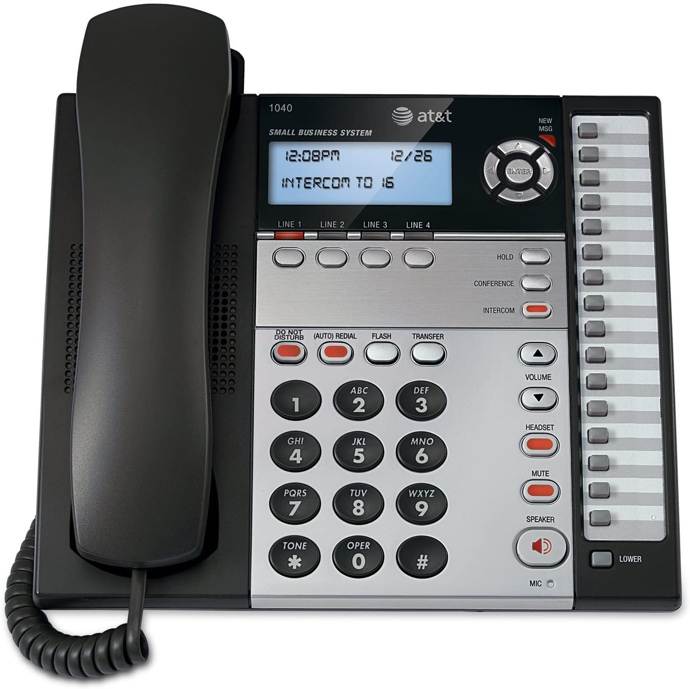 AT&T 1070 4-Line Expandable Corded Phone System with Caller ID/Call Waiting and Speakerphone, 1 Handset, Black/Silver : Telephone Headsets : Electronics