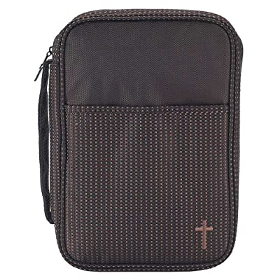 Brown Stripe 7.5 x 10 Reinforced Polyester Thinline Bible Cover Case with Handle