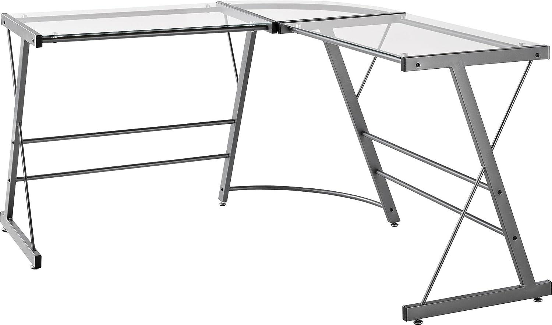 amazoncom altra odin glass lshaped computer desk gray kitchen u0026 dining