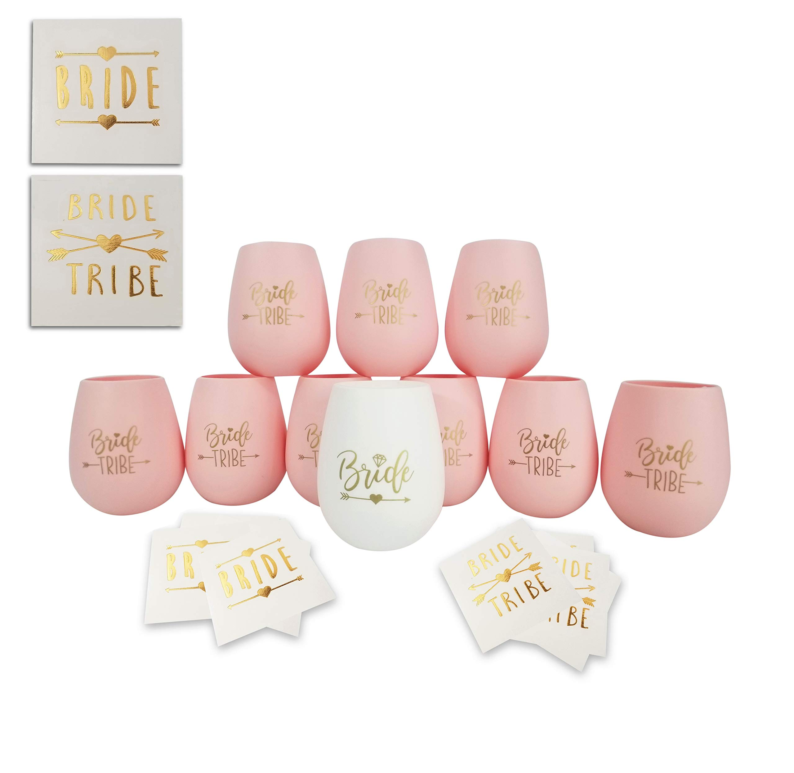 Bride Tribe Bachelorette Party Silicone Wine Glass - Set of 10 Pink and Gold Bundle with Temporary Tattoos - Bridesmaid Wedding Gift Party Favors - Bachelorette Party Supplies ...