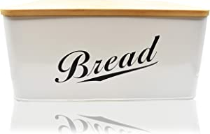 Modern Metal Bread Box with Bamboo Lid, Bread Storage, Bread Container for kitchen counter to Organizer Kitchen Decor, Vintage Kitchen