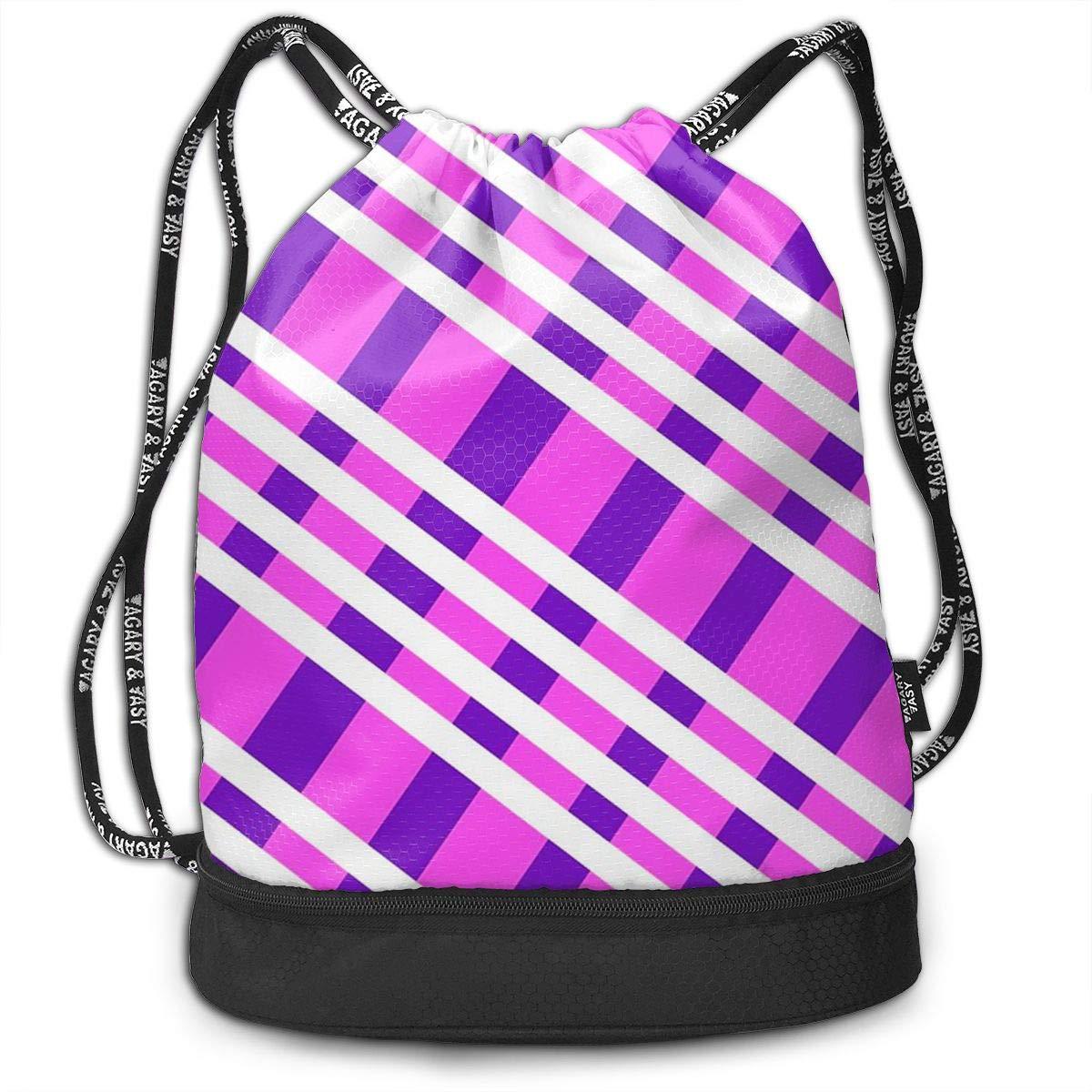 HUOPR5Q Purple Plaid Drawstring Backpack Sport Gym Sack Shoulder Bulk Bag Dance Bag for School Travel