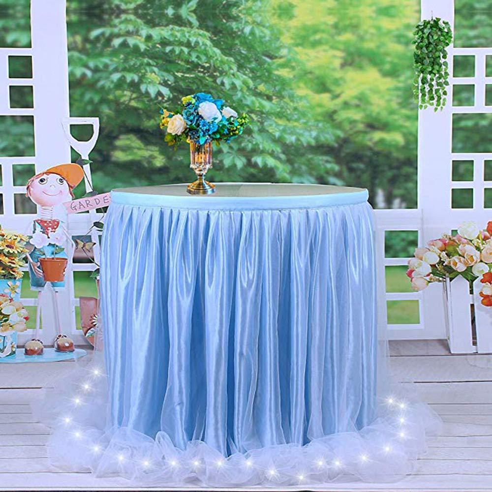Blau,183cm*76cm HBBmagic LED Handgefertigte Tischdecke//Tischdeko Tutu Tischrock F/ür Party Weihnachten Carniva Geburtstag Festival Feier Tischdekoration Hochzeit