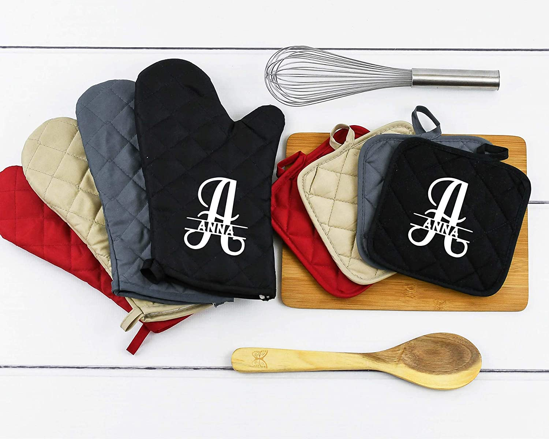 Monogram Oven Mitt Set, Monogram Potholder, Custom Oven Mitt, Personalized Oven Mitt, Personalized Gifts
