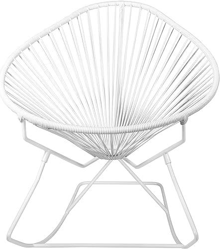 Innit Designs Acapulco Rocker, White Weave on White Frame