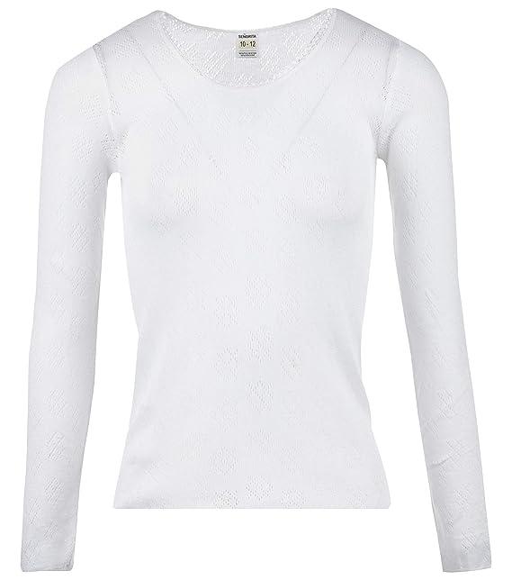 Ladies Snowdrop Long Sleeved Thermal Vest Underwear White
