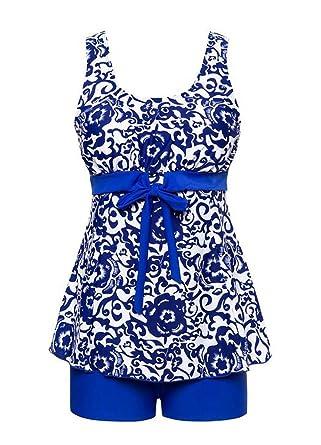 Angcoco Women's Swimwear Tummy Control Swimsuit Swimdress Tankini Plus Size Meilleur Gros Acheter Pas Cher Footlocker Finishline MQW2lMJ