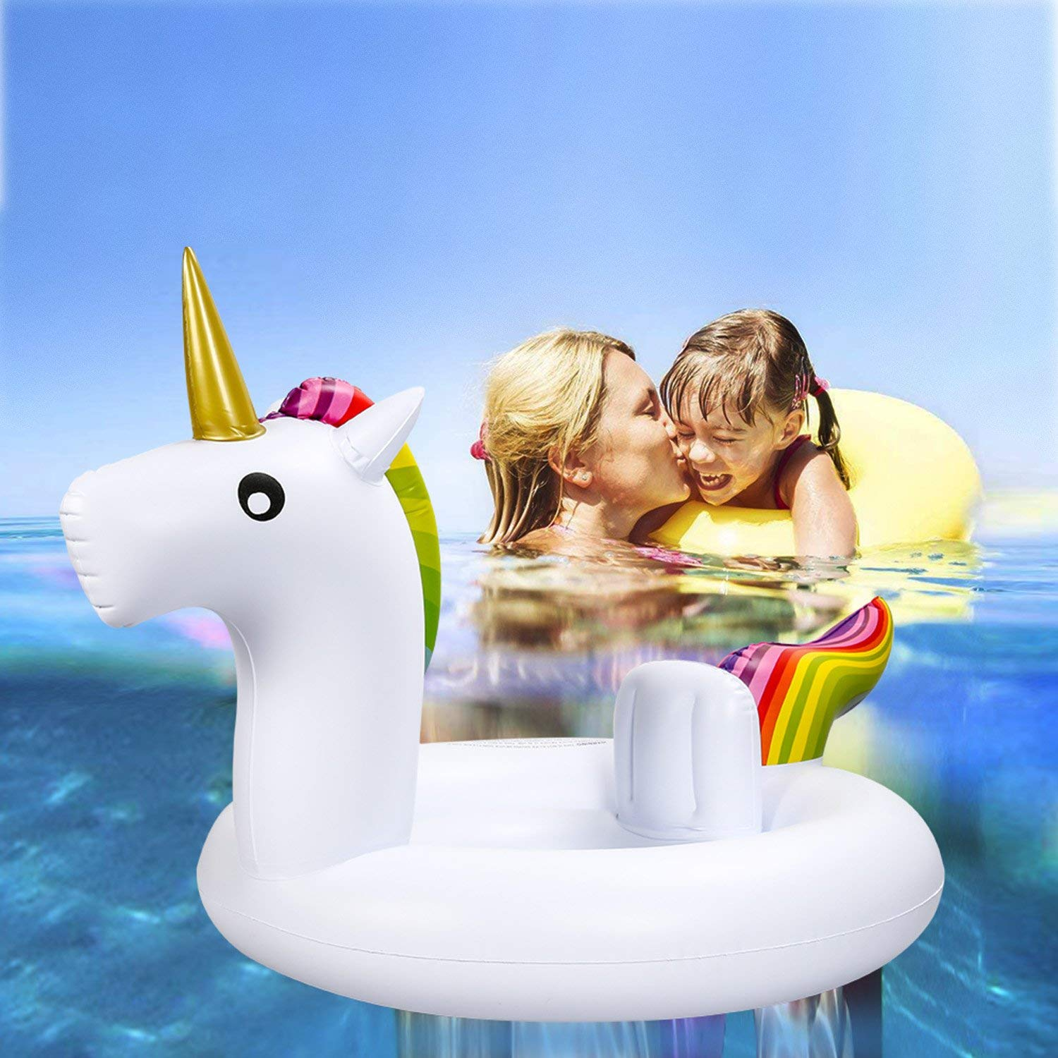 Soyoekbt Baby Inflatable Pool Float with Safety Seat Toddler Inflatable Swimming Ring for Kids White Swan Float