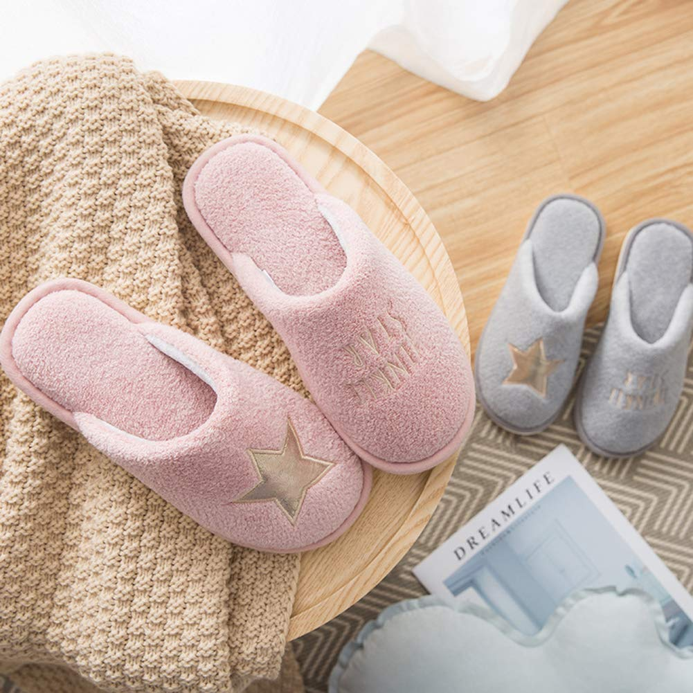 Cute Couple House Slippers Star Pattern Family Indoor Slippers Fuzzy Bedroom Slippers for Kids
