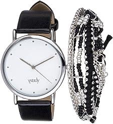 SIX Schmuckset, Schwarze minimalistische Armbanduhr, mit DREI Armbändern, Silber, schwarz, in Box (388-311)