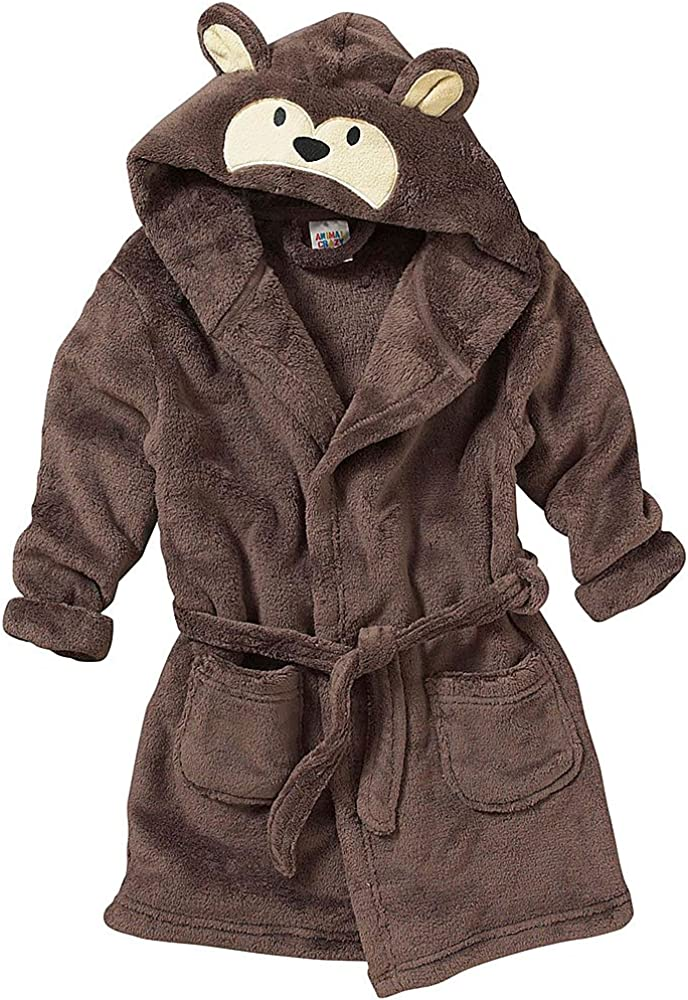 Girls Dressing Gown Monkey Face Hood Fleece Hoody Bath Robe Kids 2 to 11 Years